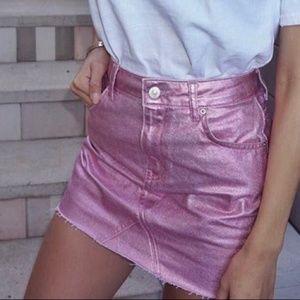 💕 TOPSHOP MOTO Pink Metallic Denim Mini Skirt 💕